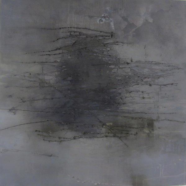 Kellas.Meditation.oil on abraded paper on panel.24x24.2018