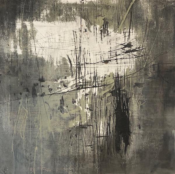 Kellas.Shiva.oil on abraded paper on panel.24x24.2019