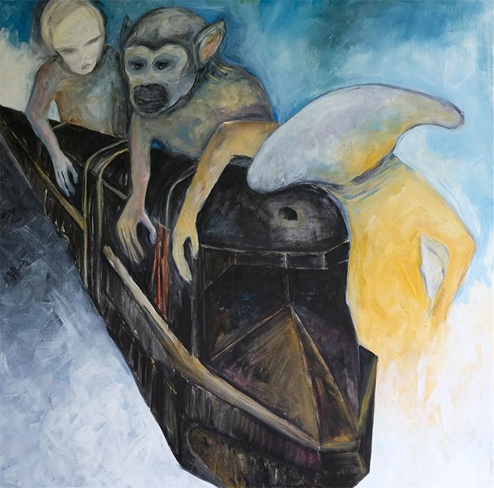 Beth Marx, Fixing the Train Acrylic on canvas