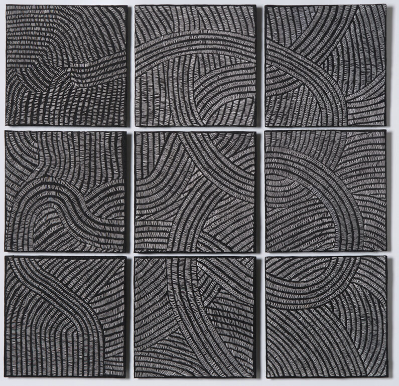 Susan Doyle, 10000 Lies, Fober stitching on Linen