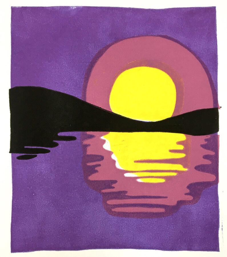 Annie Duncan Moonrise, Block Print on paper