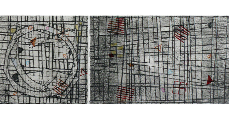 Jami Taback, Wayfinding 2, diptych, collagraph, letterpress, handmade paper, 18 x 12 in, 2020