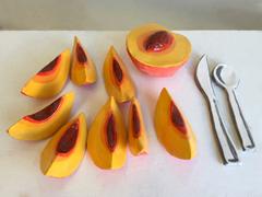 Annie Duncan - Peaches - Ceramic Sculpture, 3in H x 10in W x 12in D
