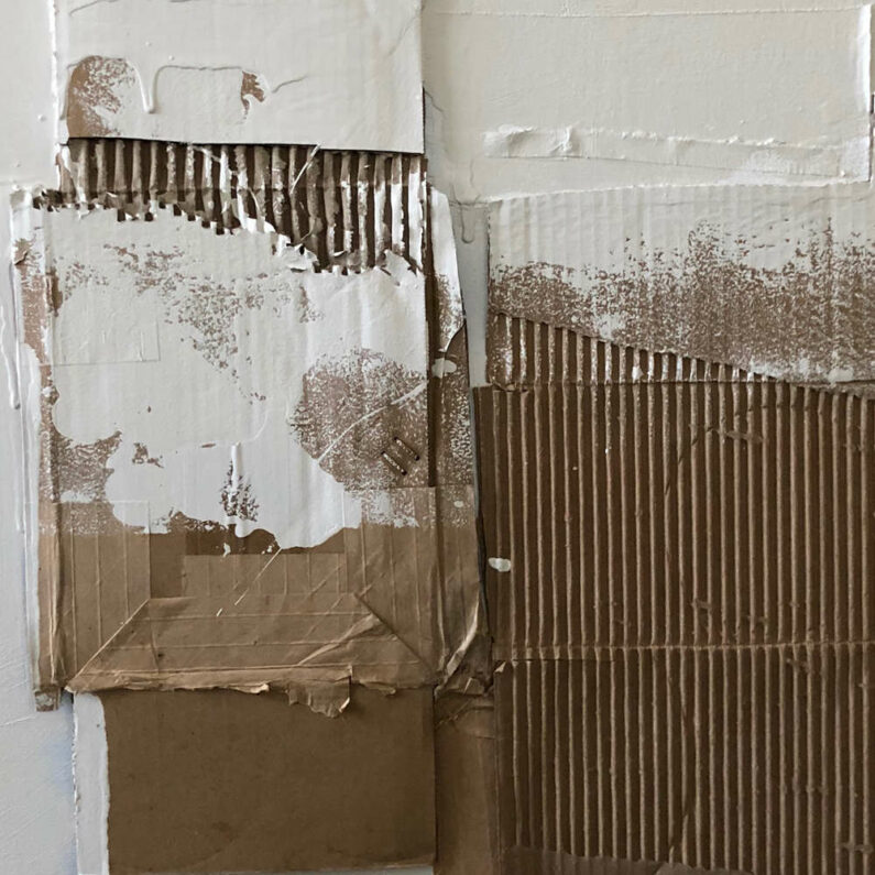 Betsy Kellas - Installation Component 8 (detail) - Cardboard Latex On Panel, 24in H x 24in W x 1 D