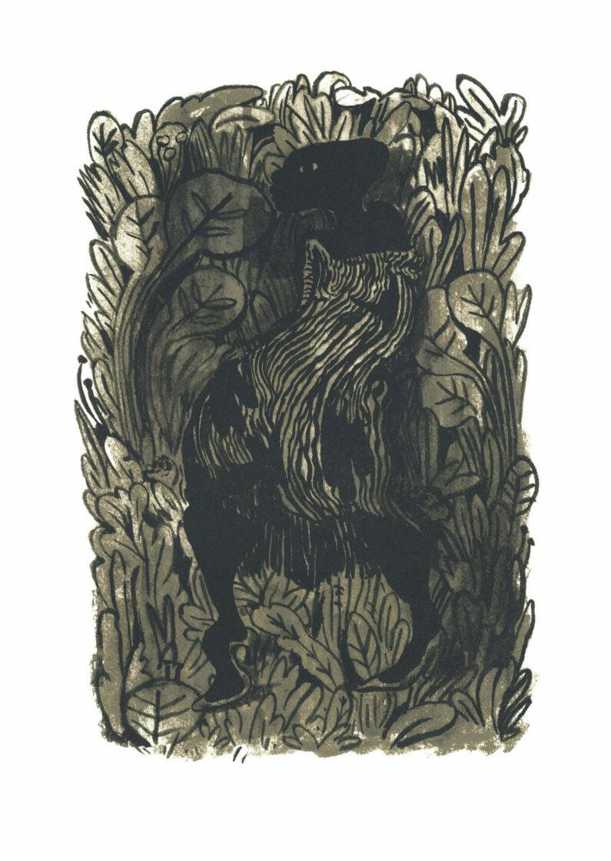 Lenworth Mcintosh - Lady In The Leaves - screenprint, 10x15