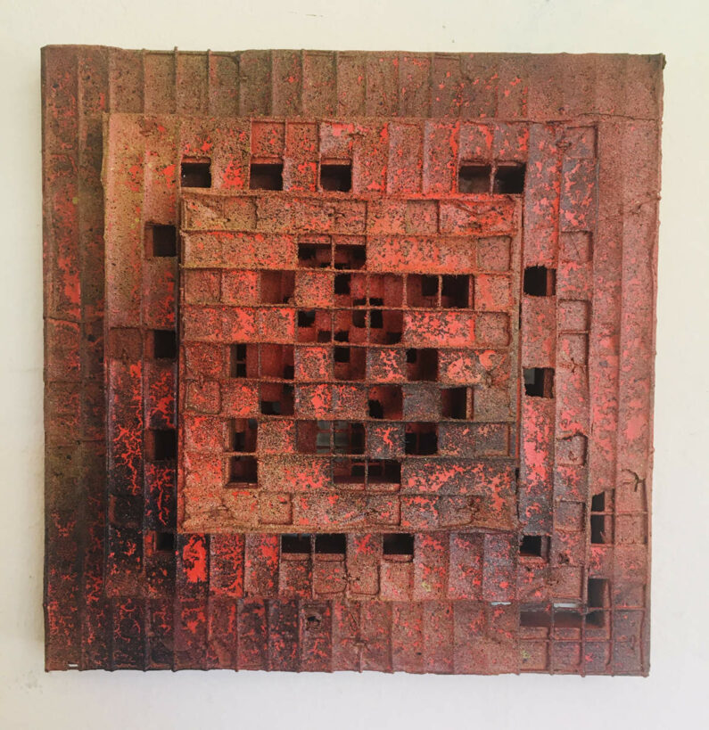 Will Thoms- Ablaze - wiremesh, wood, paper, acrylic paint, 10inX10inX3in