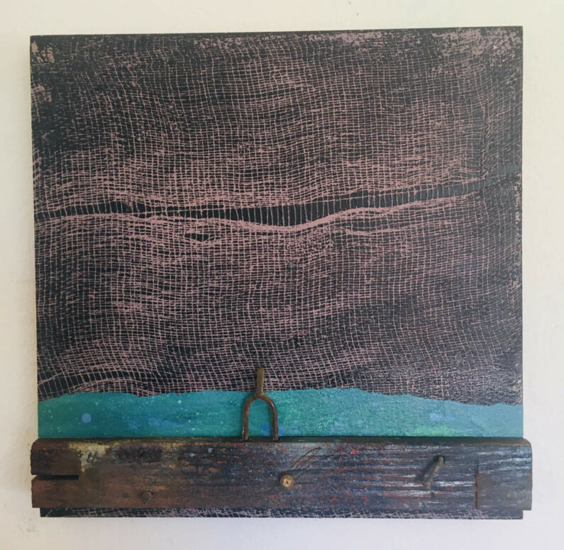 Will Thoms - Castoff - paper collage, wood lath, screw, nails, found metal on panel, 10inX10inX2in