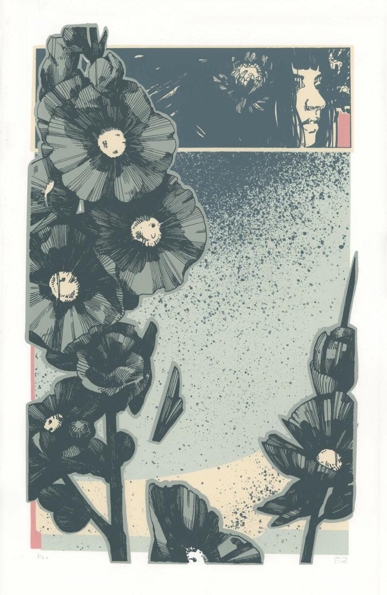 Zane Prater - Hollyhawk - screenprint, 13x20